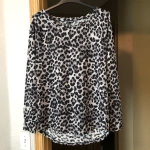 Express Gray and Black Leopard Tunic Shirt